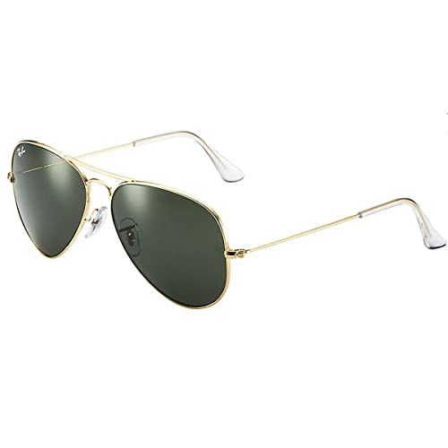 55374e10a5 Amazon.com  Ray-Ban Men s Aviator 3025 Sunglasses Gold Frame Green G ...