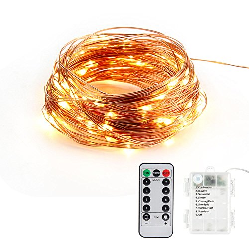 Pawaca 33ft 100LED Fairy String Lights Dimmable with Remote Control,Waterproof Decorative Lights AA Battery Powered for Wedding,Garden,Parties, Bedroom( Copper Wire Lights, Warm White -