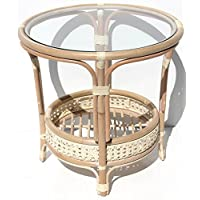 Pelangi Handmade Rattan Round Wicker Coffee Table with Glass, White Wash