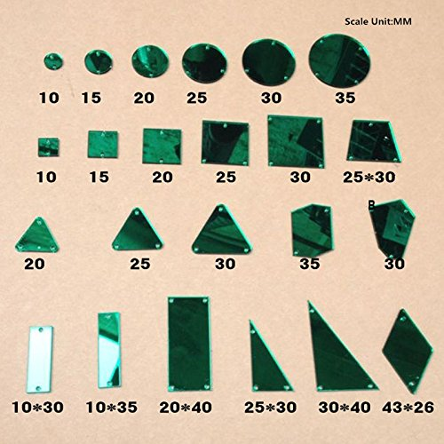 Sew On Acrylic Green Mirror Flat Back Diamante Rhinestone Crystal Mirror Beads With Hole For DIY Wedding Dress Clothing Bags Shoes Decoration by MEYA