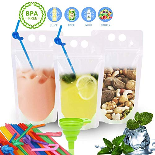 Beverage Pouch - POKONBOY 100 Pcs Clear Drink Pouches Bags Smoothie Bags Food Storage Bags Reusable Snack Bags with 100 Drink Straws, Drinking Bags Non-Toxic, BPA & Phthalate Free (NO Logo)