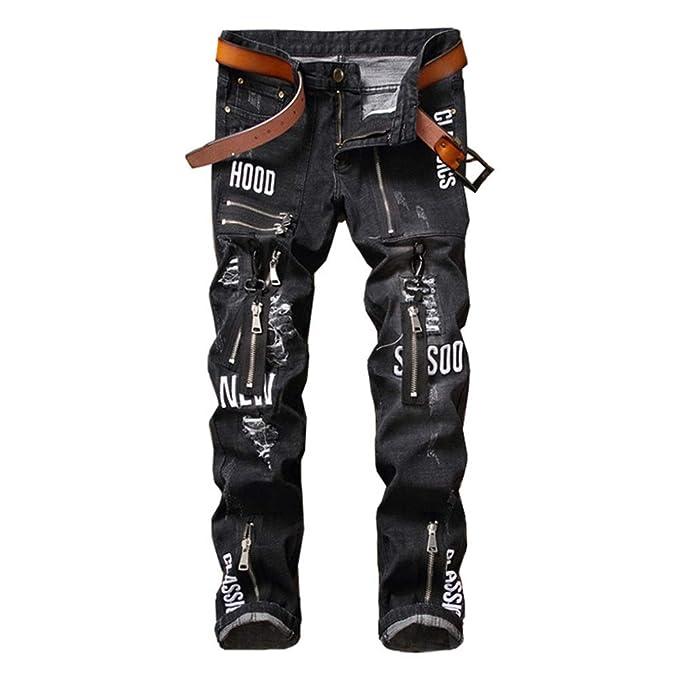Weentop - Pantalones Vaqueros Ajustados con Cremallera para ...