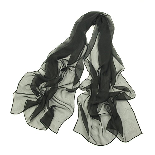 Long Chiffon Sheer Scarf For womens - PANTONIGHT FL001 2018 New Design for All Seasons Shaded Color Lightweight Extra Long Shawl (plain black S)