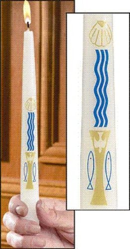 Water and the Holy Spirit Baptism Candle (7115-3) - Donations Bee