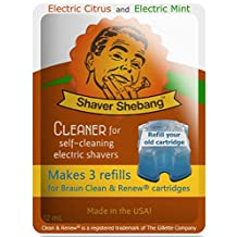 6 Refills for Braun Cartridges - Citrus & Mint - 2 Shaver Shebang™ cleaner solution replacements for Clean & Renew®