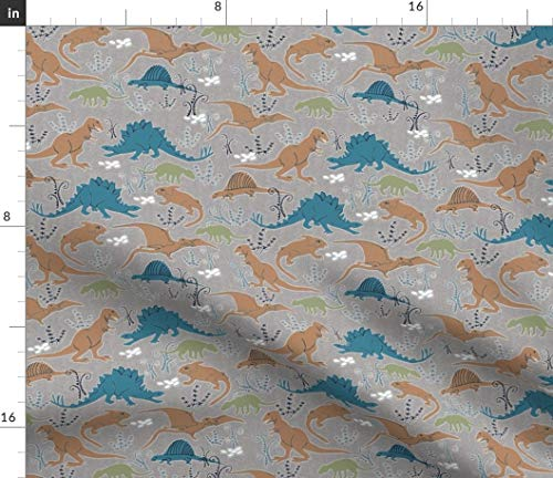 Blue and Brown Dino Fabric - Dinosaurs 4 Green Gray Baby Nursery Decor Lizards Prehistoric T Rex Boy Black Print on Fabric by The Yard - Sport Lycra for Swimwear Performance Leggings Apparel Fashion