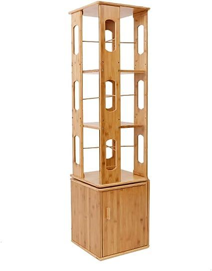 CAICOLOUR Estantería giratoria de bambú Librería de 360 ...