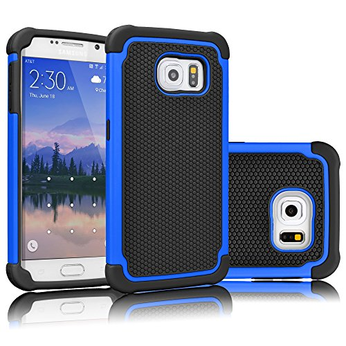 (Tekcoo for Galaxy S6 Case, [Tmajor Series] [Blue/Black] Shock Absorbing Hybrid Rubber Plastic Impact Defender Rugged Slim Hard Case Cover Shell for Samsung Galaxy S6 S VI G9200 GS6 All Carriers)