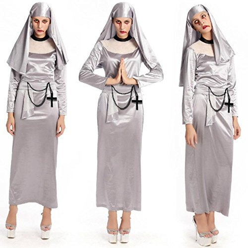 2018 New Silver Arab Clothing Sexy Catholic Monk Cosplay Dress Halloween Costumes Nun (Mother Teresa Costume For Adults)