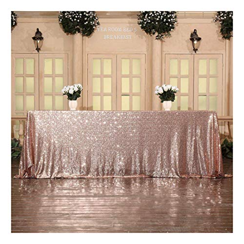 Poise3EHome Sequin Tablecloth Cover for Dinner Wedding Birthday Party Reception Table Decor - Rose Gold, ()