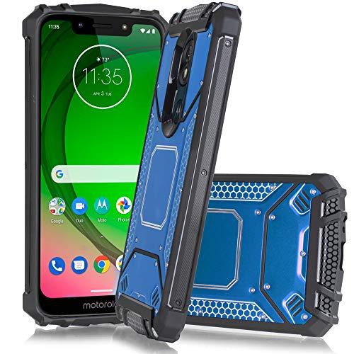 for Motorola Moto G7 Power/ G7 Supra/ XT1955 Carbon Fiber Aluminum Metal Hybrid Heavy Duty Defender Jacket Shockproof TPU Tough Armor Case [Cushion Corner] for Moto G7 Power (2019) 6.2