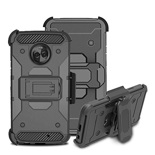 Moto X4 Case,LingAo 4 in 1 Heavy Duty Dual Layer Shockproof Rugged Holster Case Cover [Swivel Belt Clip] with for Motorola Moto X4 (2017)(Black)