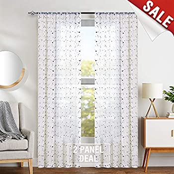 Amazon Com Jinchan Floral Embroidered Sheer Curtains For