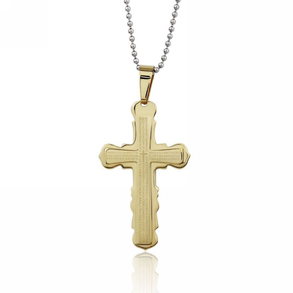Original Tribe Fashion Jesus Cross Men's Stainless Steel Necklace Unisex Necklace PN123
