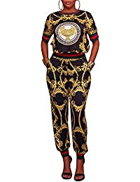 Women's Casual Floral Print Short Sleeve 2 Pieces Outfits Long Pants Jumpsuits Rompers