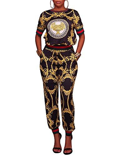 Gucci Replica (PlushZone Women's Casual Floral Print Short Sleeve Top 2 Pieces Outfits Long Pants Jumpsuit , Black , X-Large)