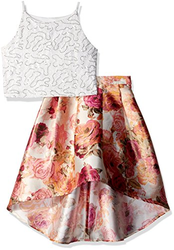 Amy Byer Girls' Big 2-Piece Dress Set, Ivory/Pink Metallic Floral, 8 -