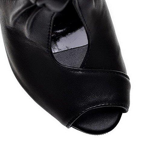 Haut Noir Sandales Talon Petite Unie à PU Ouverture GMBLA012672 Couleur Femme Cuir AgooLar 7zHwBB