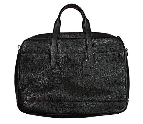 COACH Men's Pebble Leather Hamilton Briefcase Crossbody Laptop Bag Black Oxblood Red F11319