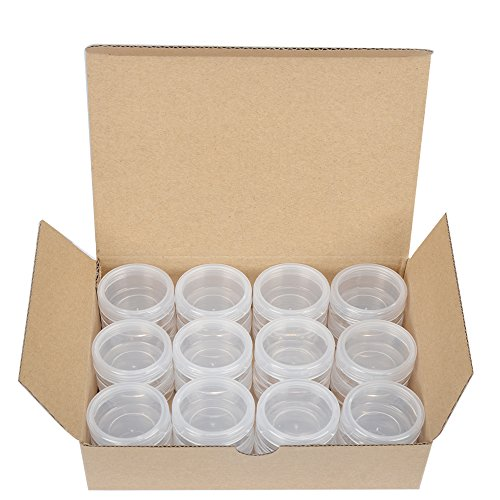 10g Pot - 24 pack,,Clear,10 Gram Plastic Pot Jars,Cosmetic Containers for Lotion, Creams,Eyeshadow,Cosmetic Product Samples-BPA Free