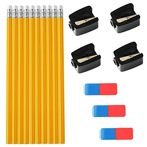(#2 HB Pencils Wood Case Pencils With Eraser Tops, 10 Pack With 3 Large Rubber Erasers 100% Latex Free With 4 Single-hole Pencil Sharpener, Value Pack)