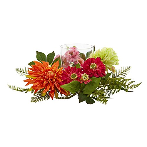 - Nearly Natural Mixed Floral & Dahlia Candelabrum, 17