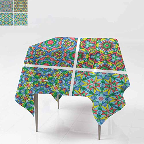 (Resistant Table Cover,Set of Abstract Mosaic Colorful Seamless Wallpaper Texture backg Table Cover for Dining 60x60 Inch)