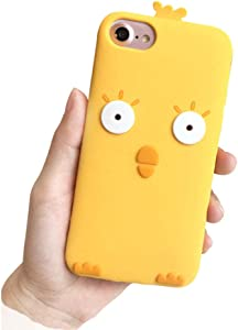 BONTOUJOUR iPhone 7/ iPhone 8 Case, Super Cute Cartoon Little Yellow Chicken Brown Bear Shape Soft Silicone Cover Case, Funny Animal Style Case Full Body Strong Protection- Chicken