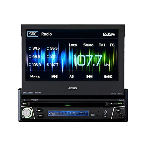 Jensen VX4012 7 inch Multimedia Retractable Touch Screen Single DIN Car Stereo with Bluetooth & Built-In DVD/USB Ports