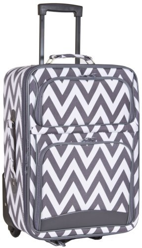 Ever Moda Grey Chevron 20-inch Expandable Carry On Rolling Luggage