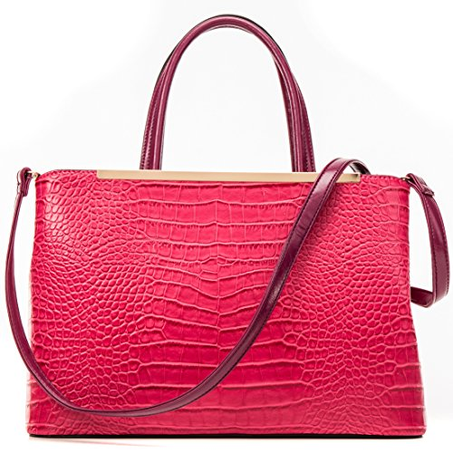 Dasein Gold Tone Frame Croco Leather Textured Laptop, Tablet, iPad Tote Shoulder Bag Handbag Purse with Removable Shoulder Strap - Fuchsia