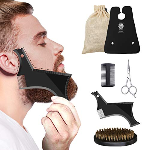 Beard Grooming Kit, Hizek Beard Kit for Men 6 in 1 Beard Growth Trimming Kit Beard Care Kit with Beard Shaping Tool, Trimming Bib, Beard Brush, Comb, Scissors, Convenient Canvas Bag