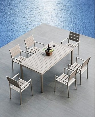 Mango Home 7 Piece Aluminum Resin Square Dining Table And Chairs Set
