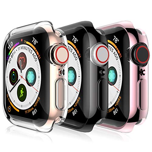 [3 Pack] L K Case for Apple Watch 40mm Series 4 with Built-in TPU Screen Protector All-Around Ultra-Thin Protective Case HD Clear TPU (Clear, Black, Rose Gold)
