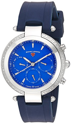 Swiss Legend Women's 'Madison' Quartz Stainless Steel and Silicone Casual Watch, Color:Blue (Model: 16175SM-03-BLS)