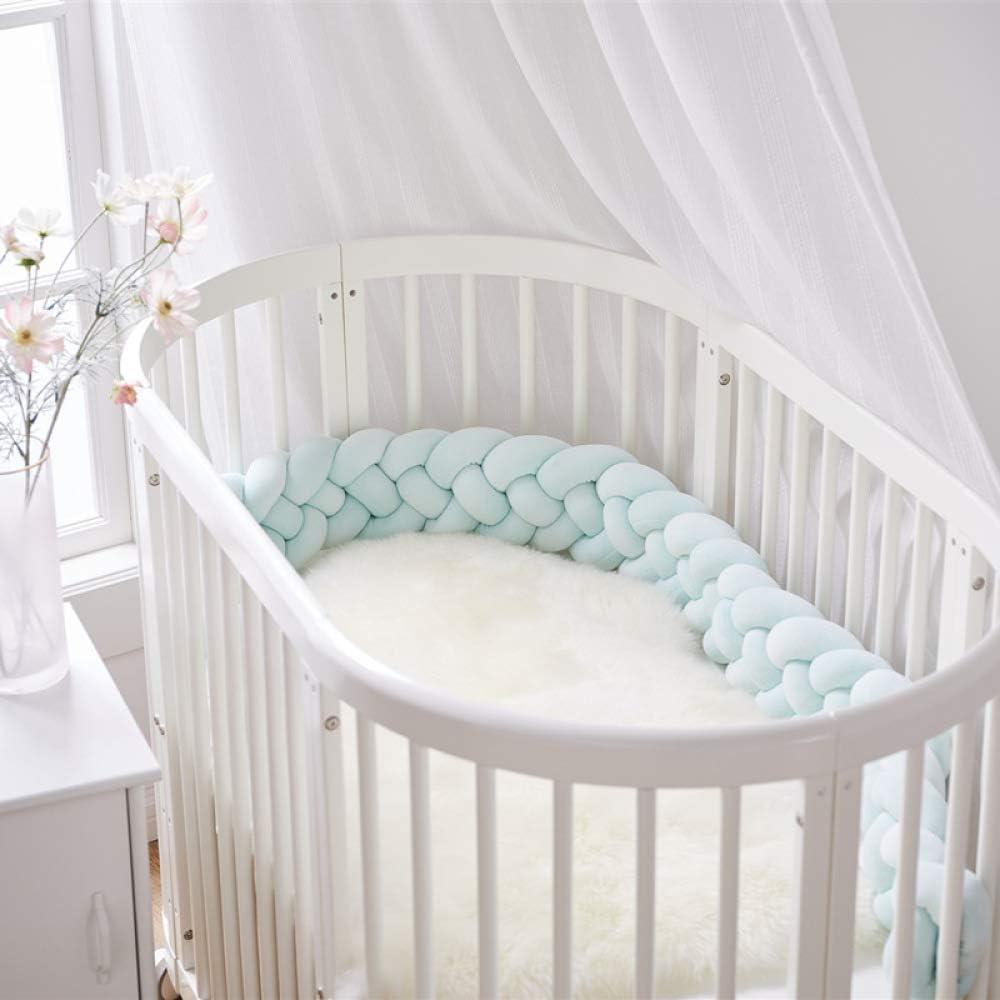 2m, White-Grey-Purple NIUXUAN Baby Crib Bumper Cot Protector Weaving Plush Knot Bed Bumper Kids Room Decor Toddler Cradle Decor Newborn Gift Pillow Cushion Junior Handmade Bed Sleep Bumper