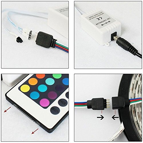 Power Adapter DC12V Control for Kitchen,Bedroom,Sitting Room,Bar,Party jiguoor 10M 2 * 5m Waterproof SMD3528 RGB 600 LEDs Flexible light strip with 24 Keys IR Remote