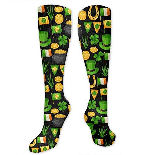 Flag-ireland St. Patrick's Day Funny Athletic Socks Best Knee High Socks For Women And Men Running Travel]()