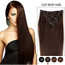 """Dark Brown Double Weft Clip in Human Hair Extensions Full Head 14""""-20"""" Grade 8A Quality 7pcs 16clips Long Soft Silky Straight 100% Remy Human Hair Clip In (18''-70g #2)"""