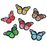 Souarts Mixed Multi Color Butterfly Embroidered Sew Iron On Applique Patches Pack of 6pcs