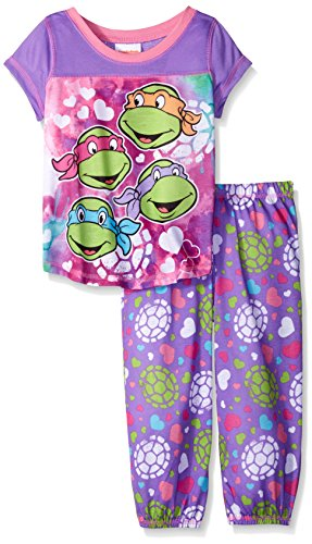 Teenage Mutant Ninja Turtles Girls Dodging Darts Painted Hearts Pajama Set, Purple, 8 (Teenage Mutant Ninja Turtles Girls)