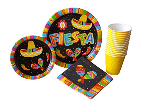 Fiesta Fun - Cinco De Mayo Party Supplies Pack for 16 Guests Including: Large Dinner Plates, Appetizer/Dessert Plates, Napkins & Cups
