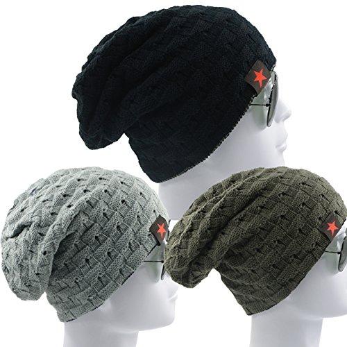Unisex Reversible Warm Winter Beanie Trendy Baggy Soft Knit Chunky Slouchy Cap Ski Hat for Women Men 3 Pack Black Dark Light Grey by American Trends