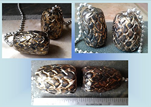 Set of 2 Dragon Egg Ceramic Fan Lamp Pulls Clay Pottery Pulls Pewter Gold Fantasy Dragon Eggs Pottery