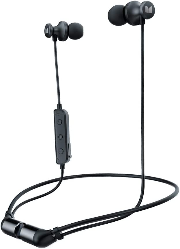 Auriculares inalámbricos Monster Bluetooth IPX5 resistente al agua, Bluetooth 5.0 in-ear con conexión magnética con micrófono, HD estéreo para gimnasio, entrenamiento, correr, 8 horas de reproducción