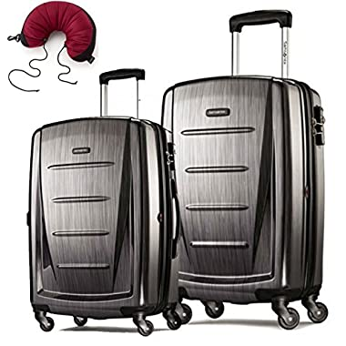 Samsonite Winfield 2 Fashion 2 Piece Set Spinner 20 and 24 With Travel Pillow (One Size, Charcoal)