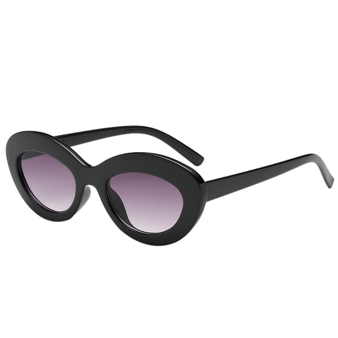405a0a4529 Retro Unisex Cat Eye Oval Shape Big Frame Sunglasses Vertily Eyewear Candy  Color (Black) at Amazon Women s Clothing store