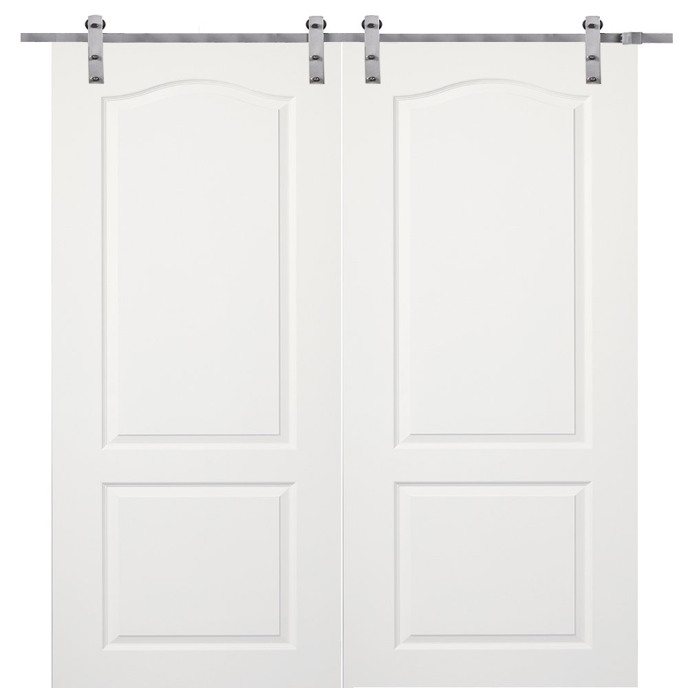 National Door Company Z009609 Solid Core Molded 2-Panel Archtop, Primed, 72'' x 80'', Barn Door Unit