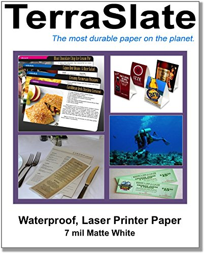TerraSlate Paper 7 MIL Waterproof Laser Printer/Copy Paper 8.5' x 11' 25 Sheets