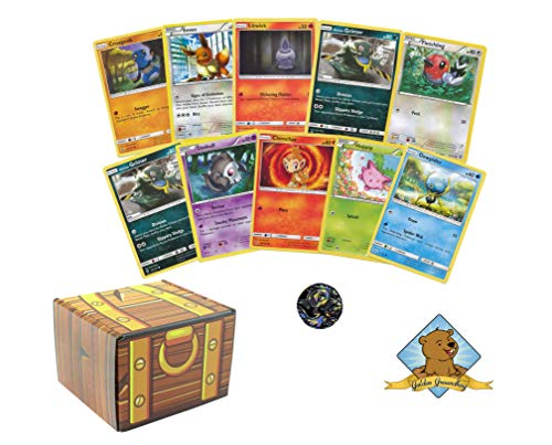 100 Pokemon Cards with 1 Collectible Coin! Includes Golden Groundhog Treasure Chest Box!